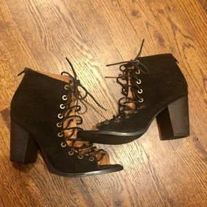 lace up bootie heels